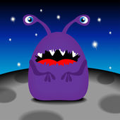 Funny monster on his planet, vector illustration — Stock Vector