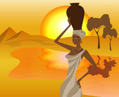 African girl with a pitcher goes to fetch water, vector illustration — Stock Vector