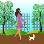 Pretty girl walking with a dog in the park — Stock Vector