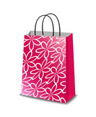 Pink paper shopping bag with floral pattern, vector isolated on white background — Stock Vector