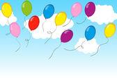 Palloncini multicolore che volano in aria. illustrazione vettoriale. — Vettoriale Stock
