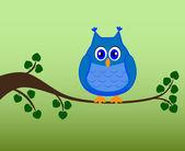 Owl sitting on a branch, vector illustration — Stock Vector