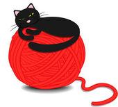 Cute kitten sleeping on a tangle of yarn — Stock Vector