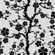 Seamless lace pattern with flowering branch of sakura, vector illustration — Stock Vector