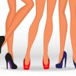 Beautiful female legs in fashionable high-heeled shoes — Stock Vector