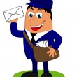 Vector illustration with a funny postman with bag and letter — Stock Vector