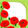 Postcard with red poppy flowers on a green background and free space for your text — Stock Vector