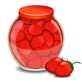 A jar of a strawberry jam and a strawberry berry. Vector illustration — Stock Vector