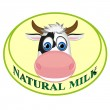 Natural milk sticker with cow — Stock Vector