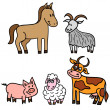 Set of cute farm animals — Imagen vectorial