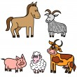 Set of cute farm animals — 图库矢量图片