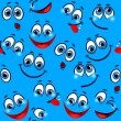 Seamless pattern - funny faces on a blue background — Stock Vector