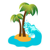 Tropical island and coconut palms, vector icon — Stock Vector