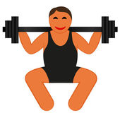 A strong man lifting weights, icon vector — Stock Vector