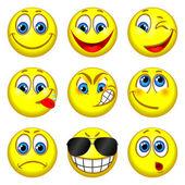 Insieme di persone divertenti con espressioni diverse — Vettoriale Stock