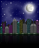 Night city, clear sky and moon, vector illustration — Stock Vector