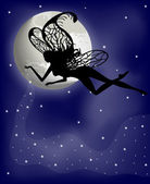 Silhouette fairy girl on a background with the moon — Stock Vector