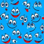 シームレス パターン - おかしい青色の背景に直面しています。 — ストックベクタ