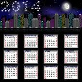 Calendario para el año 2014 - la ciudad de noche con luna — Vector de stock