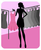Silhouette of beautiful girl chooses clothes in shop — Stock Vector