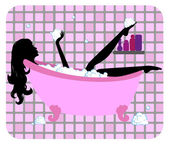 Silhouette of beautiful girl taking a bath — Stock Vector