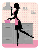 Silhouette of beautiful girl cooking — Stock Vector