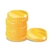 Stacks of gold coins, vector isolated — Stock Vector