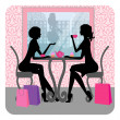 Silhouette of two beautiful girls talking in a cafe — Stock Vector