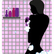 Silhouette of beautiful girl under shower — Stock Vector