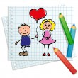 Hand drawn - Girl and boy with balloon, love — Imagen vectorial