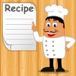 The chef shows his finger on a blank form with the recipe — Stock Vector