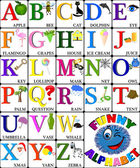 Funny alphabet with pictures for children, ALL LETTERS — Stock Vector