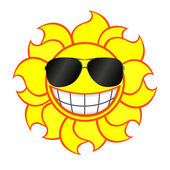 Cheerful smiling sun wearing sunglasses — Stock Vector