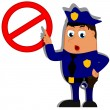 Policeman in uniform pointing finger at sign Not Allowed — Stock Vector