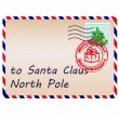 Letter to Santa Claus with stamps and postage mark — Image vectorielle