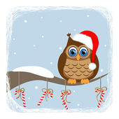 Owl on branch and candy-cane — Stock Vector