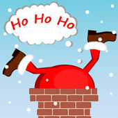 Santa Claus stuck in the chimney on the roof — Stock Vector