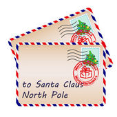 Two letters to Santa Claus with stamps and postage marks — Stock Vector