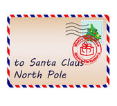 Letter to Santa Claus with stamps and postage mark — Stock Vector