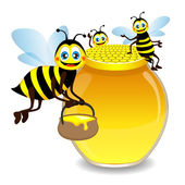 Jar with honey and funny bees, vector — Stock Vector