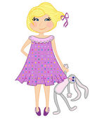 Little Girl with toy bunny — Stock Vector