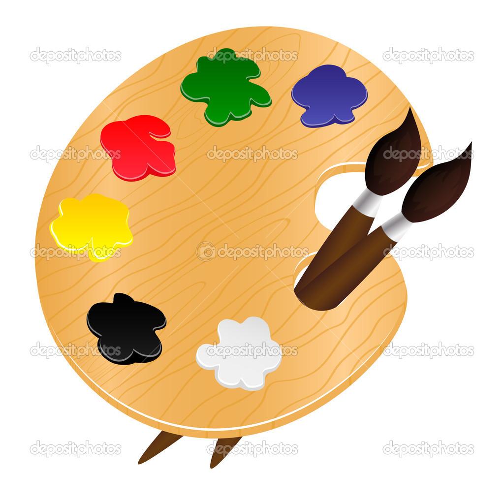 Paleta de madera con pinturas y pinceles ilustraci n - Paleta de pinturas ...