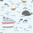 Kids seamless pattern ocean and ships, vector — Stock Vector