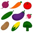 Set of vegetables isolated on white — Stock Vector