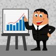 Businessman pointing to rising business trends — Stock Vector