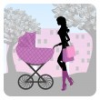 Young woman walking in park with stroller — Stock Vector