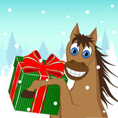 Christmas card - a funny horse with a gift — Stock Vector