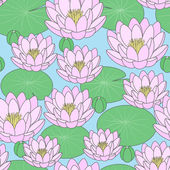 Seamless pattern - Pond with lilies, vector illustration — Stock Vector