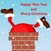 Santa claus vast te zitten in de schoorsteen op het dak — Stockvector