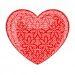 Red glossy heart with floral lace pattern — Stock Vector